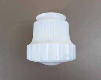 "Vintage Milk Glass Ceiling Shade - 6.5"" -  fluted design - 1950s"