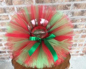Christmas tutu, red and green tutu with green bow, girls tutu, red and green Christmas tutu, birthday tutu, toddler tutu,  1st Christmas