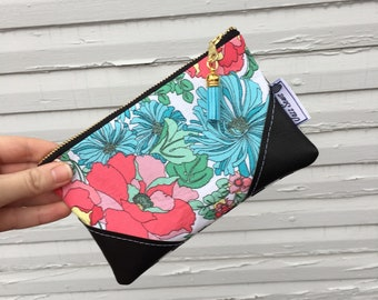Floral and Stripes Mini Tassel Clutch