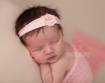 Tieback Headband, Flower Headband, Pink Flower, Pink Headband, Newborn Tieback, PInk Flower Tieback, Jersey Tieback, Newborn Headband