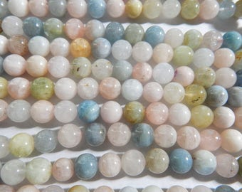 8mm Natural Morganite Polished Round Semi-Precious Beads, Half Strand (IND2C96)