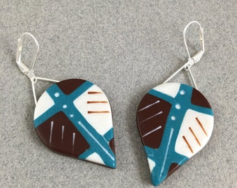 Art earrings beautiful clay design lightweight dangles aqua brown and white teardrop shape