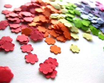 Rainbow Confetti Mini Rainbow Confetti Flower Confetti Punch Outs - Set of 700 - ROYGBIV - Red Orange Yellow Green Blue Purple Pink Flowers