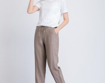 linen cropped pants women, brown linen trousers, drawstring waist pants, summer casual pants, women long pants, plus size pants 1939
