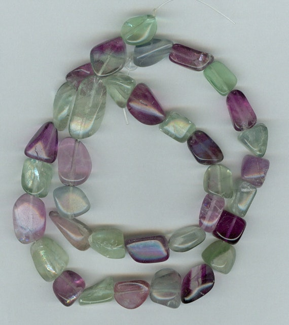 Small Size Beads: Green And Purple Fluorite Gemstone Tumbled Beads Small Size