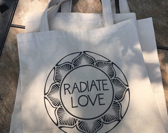Radiate Love Cotton Canvas Tote Bag; Gift for Yourself, Favorite Yogi or Loving Best Friend; Original Design by We Stay Love