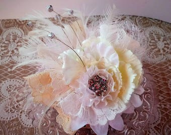 Ladies lace/feather and diamanté bracelet wrist corsage