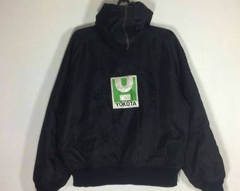 Rare !! Vtg ROLLERGEAR YOKOTA Embroidery Big Logo Sweater Like Army Jacket Black Colour Size L #A11