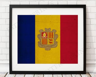 Andorra Flag Print, Andorra Flag Art, Andorra Gifts, Flag Poster, Housewarming Gift, Vintage Flag Wall Art, Flag Painting, 5x7, 8x10, 11x14