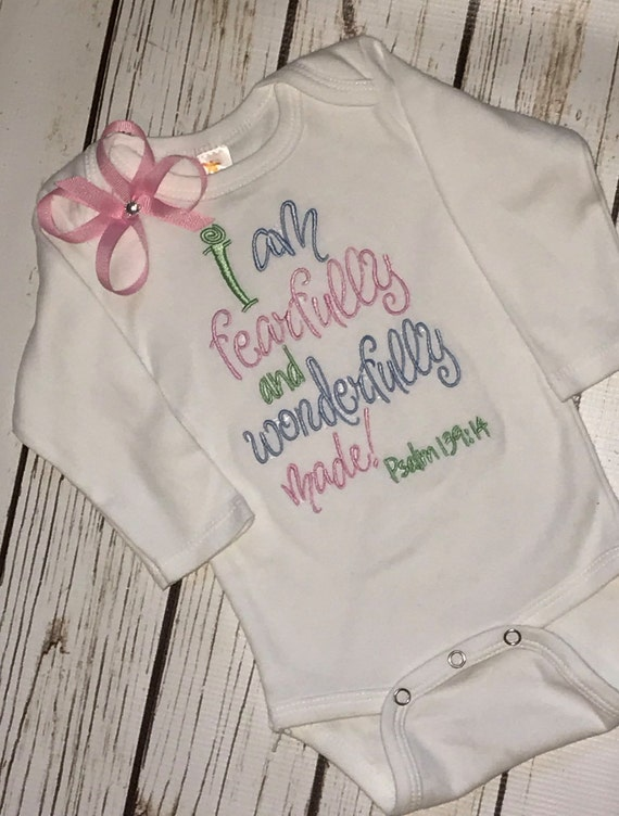 I Am Fearfully And Wonderfully Made Romper Christian Baby