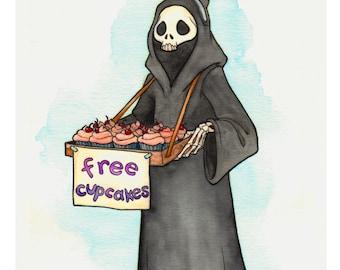 Grim Reaper 'Free Cupcakes' illustration - 11x14 inch print