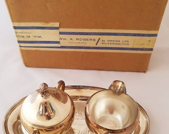 Silver Plated Holloware Creamer and Sugar Set with Tray
