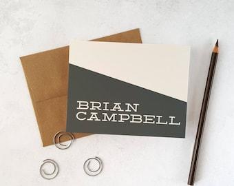 Boys Stationery | Mens Personalized Stationary | Note Cards with Envelopes | SLANTED SLAB | Custom Notecards with Kraft Envelopes