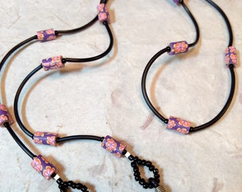 SALE: Whimsical Purple, Pink & Yellow FLORAL Fimo Polymer Clay, Glass Beads, Rubber Tubing Eyeglass Chain