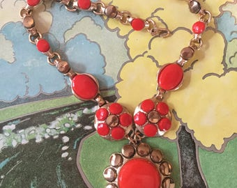 Vintage and Signed Paris Bright Sunny Orange Floral Thermoset Cabochon Necklace