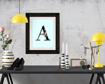 Lipsticks and Pearls Letter of your Choice Black Poster