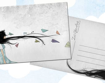 Illustrated postcard / origami / paper plane / airplanes / wind / hair / woman / illustration / a6