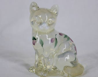 Vintage Fenton Sitting Cat Figurine Opalescent Hand painted Floral D. Robinson