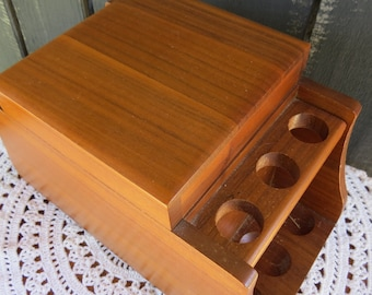 Vintage Wood Pipe Holder -  Tobacco Pipe Holder and Humidor - Mens Gift - Vintage Pipe Stand