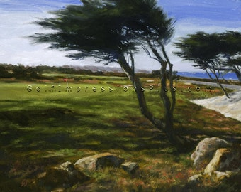 Golf Art. Golf Gift. Christmas gift for Dad. Monterey Peninsula. Print of original oil painting.