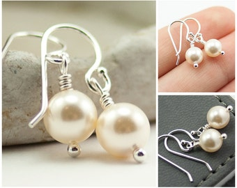 Drop Pearl Earrings June Birthstone Earrings. Cream Swarovski Pearls. Drop Earrings. Ivory Pearl Earrings.  Bridal Jewelry Sterling Silver