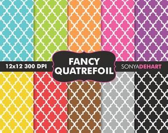 80% OFF SALE Digital Paper Fancy Moroccan Quatrefoil Patterns