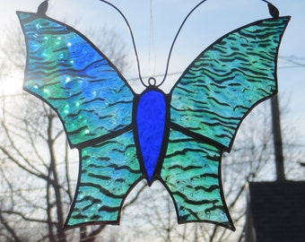 Stained Glass Butterfly Suncatcher Blue Green (SUN003)