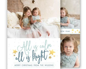 Christmas card template, Holiday card template, Gold christmas card, Gold Star Christmas Card Template