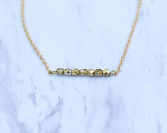 Gold Dainty Shimmer Beaded Necklace / Delicate Minimalist Boho Jewelry
