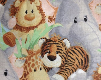 One Half Yard of Fabric Material - Jungle Babies,  Animal Fabric, Nursery