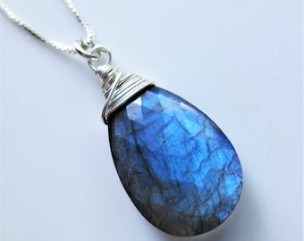 Labradorite Gemstone Sterling Silver Pendant Necklace EE Designs