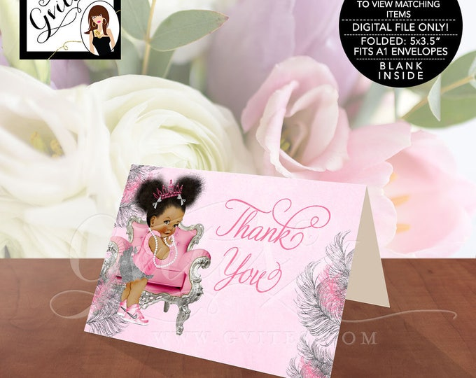 """Pink and Silver Thank You Cards, Baby Shower African American Princess Baby Vintage Girl, Afro Puffs, Instant Download, 5x3.5""""/2 Per/Sheet."""