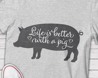 Life is better svg, Pig shirt, Pig clip art, Pig clipart, Pig vector art, Pig svg, Pig cut file, Pigs svg, Pig png, Pig svg file, Farmer svg