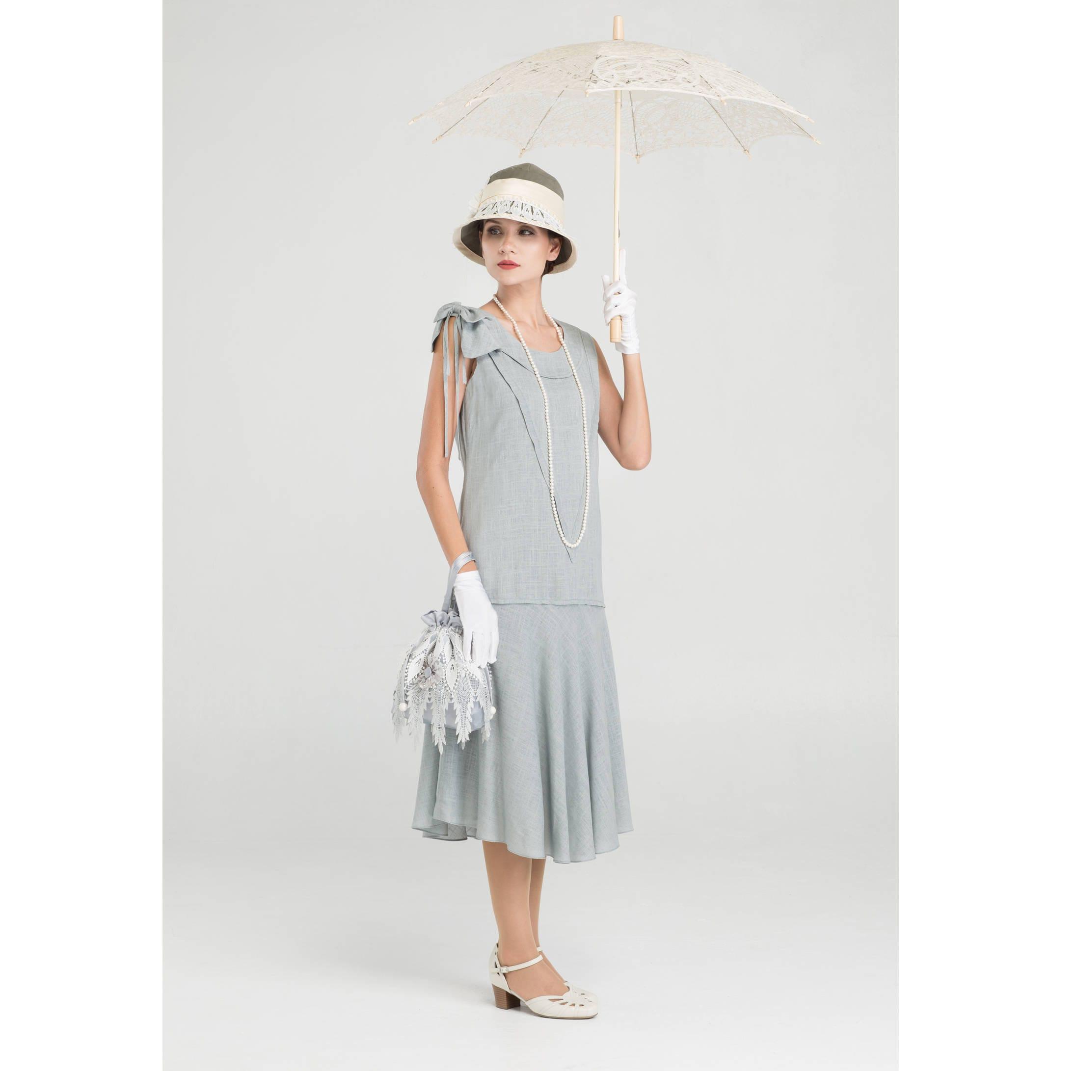 Leinen Great Gatsby-Party-Kleid in grau 1920er Jahre Flapper