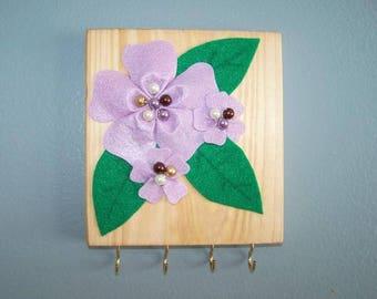 3D Flower Wall Plaque / Jewelry Hanger in Purple/Golden Pecan
