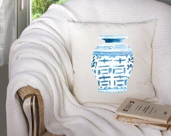 chinoiserie pillow - chinoiserie vase - chinoiserie fabric - chinoiserie artwork - chinoiserie watercolor - chinoiserie print - chinoiserie
