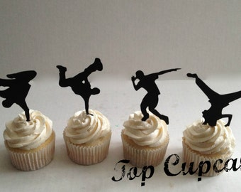 Breakdance Silhouette Cupcake Toppers -12