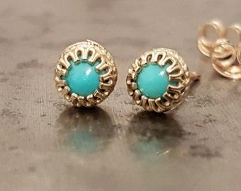 Turquoise 14k Gold Stud Earrings, Dainty Minimalist Crown Earrings, December Birthstone