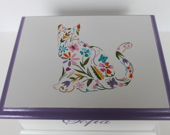 Baby Keepsake Box Memory Box Floral Cat personalized girl baby shower gift hand painted