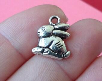 10 Bunny Rabbit Charms 13x14.5x2.5mm ITEM:AD22