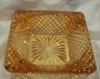 Vintage Amber Cut Glass Imperial Glass Ashtray Circa 1960  bx8  82231176