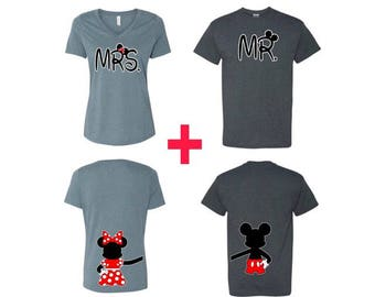 Mr. and Mrs. Disney Couples Shirts with Mickey and Minnie Holding Hands, Couples Matching Shirts, Honeymoon Gift Idea,Disney Inspired,