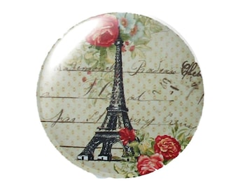 Set of 2 cabochon 18mm round glass Eiffel Tower