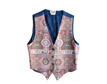 50% of Proceeds go to Planned Parenthood! Vintage Southwestern, Kilim-Style Vest, Women's Petite/Small, 90s Vest, Boho Vest, Made in the USA