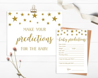 Twinkle Twinkle Little Star Baby Shower Predictions, Baby Prediction Card Baby Shower Predictions For Baby, Printable Download - SG1