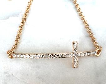 Sideways Cross | CZ Cross Bracelet | Gold Cross Bracelet | Chunky Cross | Adjustable Bracelet | Cross Jewelry | Chain Bracelet | Great Gifts