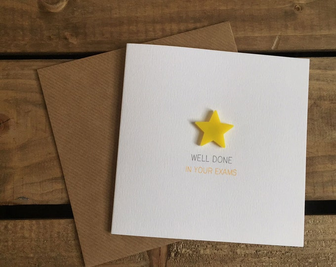 Featured listing image: WELL DONE In Your Exams Card with Detachable Yellow Star Magnet Keepsake