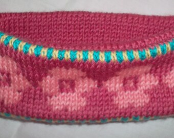 Pink reversible old child ear warmer headband