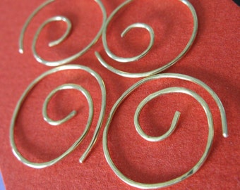 Free Shipping Item. Small Hoop Earrings. THINNI COLLECTION. 2 sets of 2 Pairs. Hammered Surface. 20 gauge solid brass wire