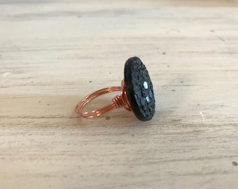 Vintage glass black button ring with copper.